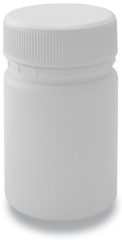 60-40 Tablet Bottle White + 40mm Plain Cap White